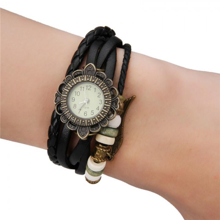 Women's Watch Leather Watch Band black