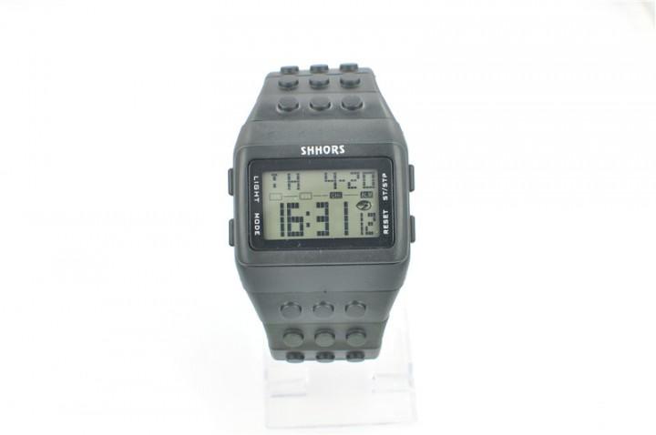 Unisex LCD Colorful Block Brick Style Wristwatch black
