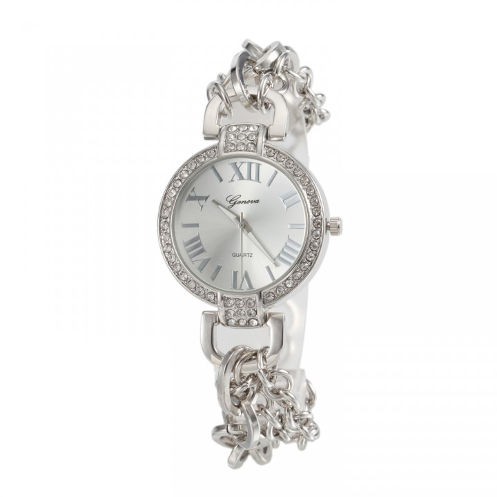 Female Chain Watch Quartz Wristwatch Fashion Watches silver