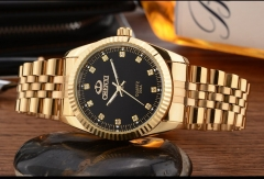 Men's Fashion Watch Golden Stainless Cool Watch black