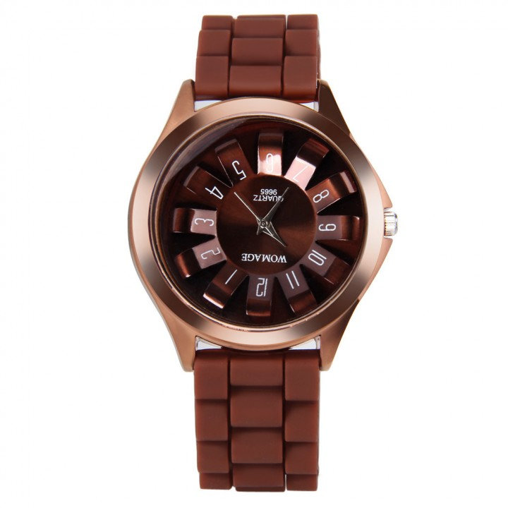 Petals watch, quartz watch, candy color jelly watch brown