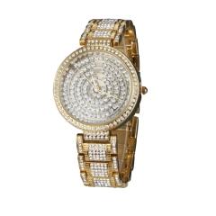 Women's Diamante Roulette Shape Round Dial Alloy Band Quartz Analog Luxury Watch golden