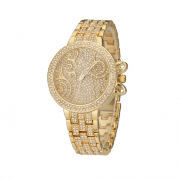 Women's Diamante Band Quartz Analog Wrist Watch golden