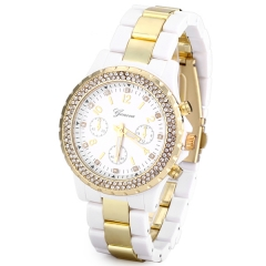 Superb Women Watch Diamonds Analog Steel Watchband white