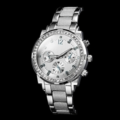 Women's Round Dial Steel Band Quartz Luxury Watch silver