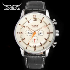 Jargar  Automatic dress wristwatch silver color with black leather steel band for men hot white