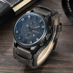 CURREN Men's Luxury Brand Watches Men Clock Leather Strap Waterproof Analog Quartz Watches black