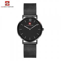 DZ luxe mode horloge mannen ultra dunne goud Staal Mesh Business Watch black 0.2kg