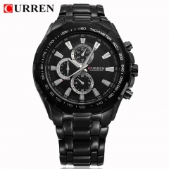 CURREN Men's Date Quartz Waterproof Stainless Steel Band Analog Wrist Watch black one size black 0.2kg