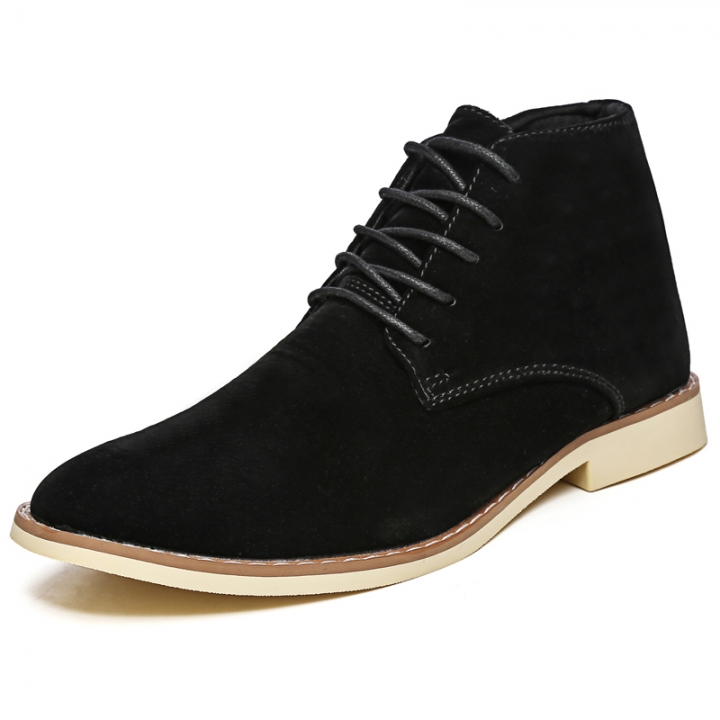 Men Fashion Boots Pointed Leather Lace-up Business Formal Oxford Office Casual Flat British Work black 42