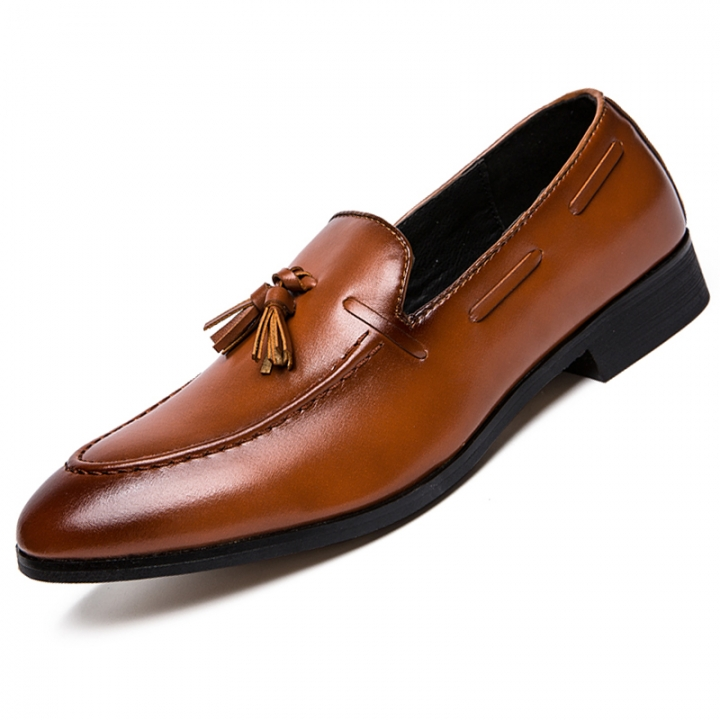 Fashion Tassel Men Business Shoes Pointed Leather Dress Formal Oxford Slip-on Casual Office Boat brown 44 pu leather