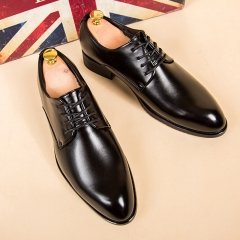 Men Pointed Leather Business Shoes Soft Leisure Formal Office Oxford Lace-up British Flat Moccasins black 38 pu leather