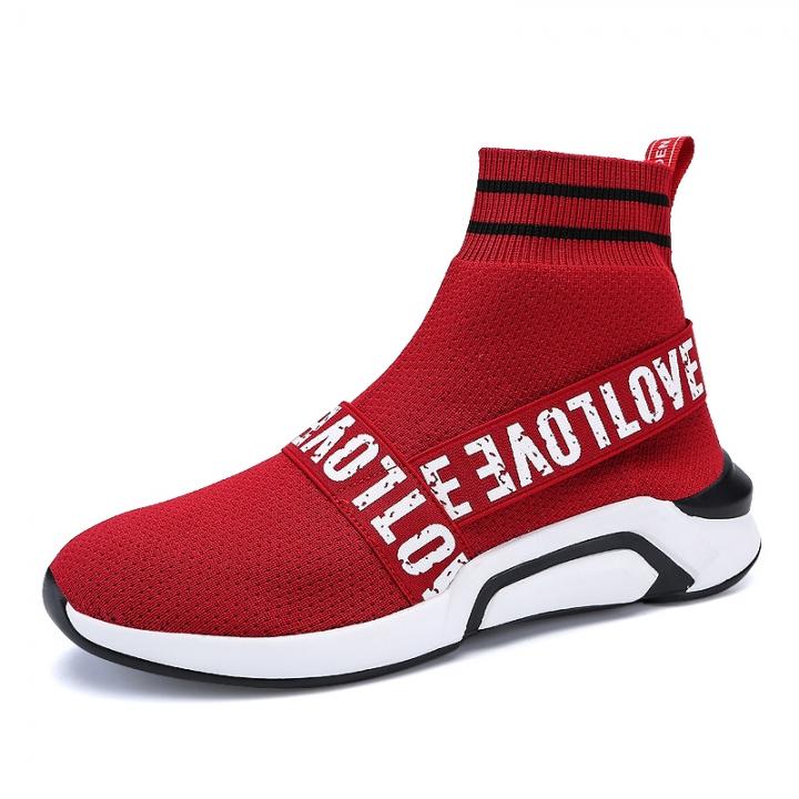 b3da42dd1f90 Breathable Men Sport Running Shoes Women Jogging Sneakers Outdoor Athletic  Socks Walking Mesh Casual red 43