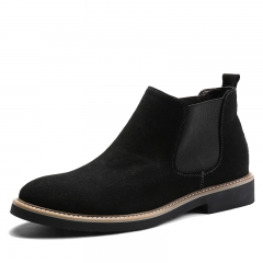 Fashion Men Chelsea Boots Pointed Leather Formal Business Shoes Slip-on Martin Ankle Boots Oxford black 38