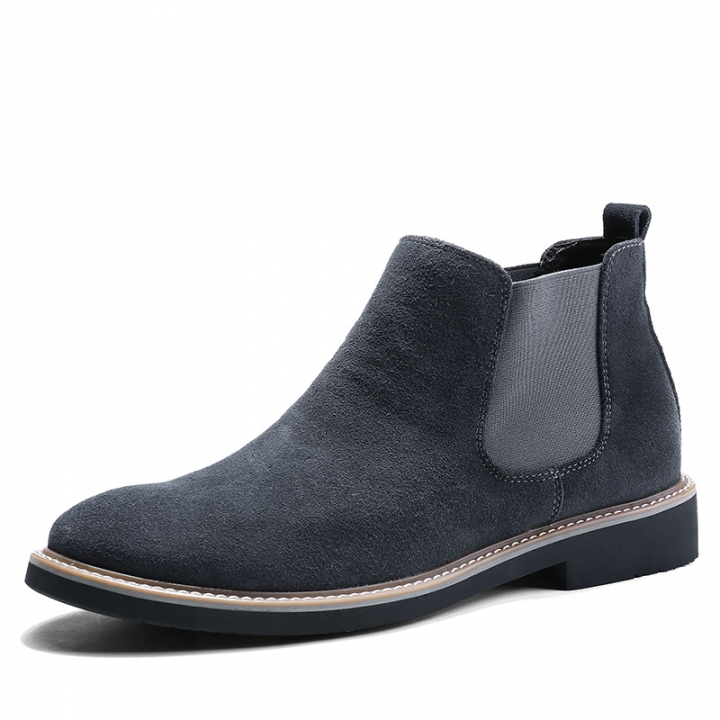 Fashion Men Chelsea Boots Pointed Leather Formal Business Shoes Slip-on Martin Ankle Boots Oxford grey 38