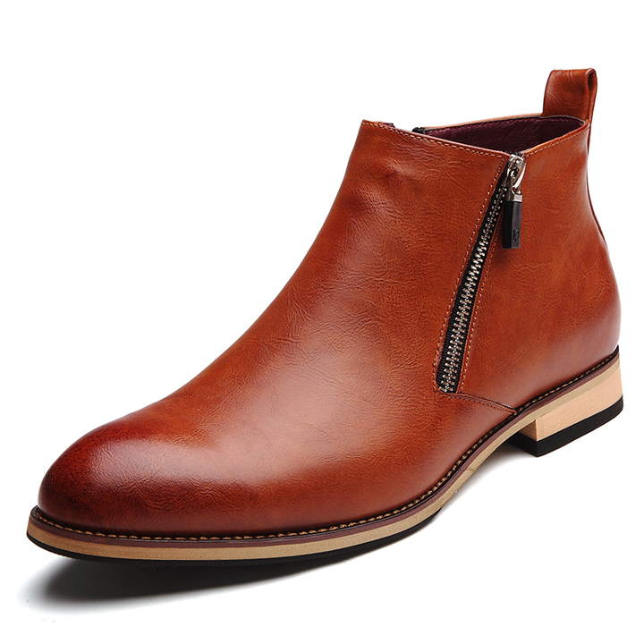 Fashion Men Leather Boots Pointed Soft Leisure Dress Formal Business Shoes Office Oxford Casual Flat brown 43