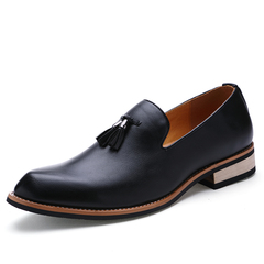 Tassel British Business Dress Shoes Men Pointed Leather Formal Office Oxford Casual Moccasins Work black 40 pu leather