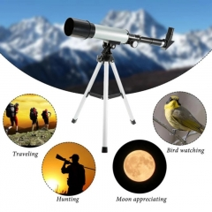 360x50mm Refractive Space Astronomical Telescope Monocular Travel Spotting Scope with Tripod White 40cm