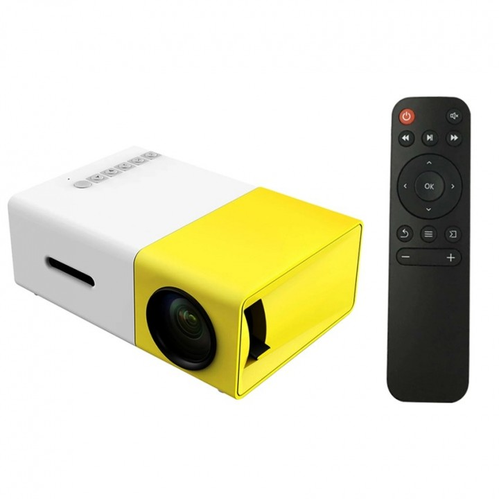 Portable Home LED Projector Projection Machine Home Cinema Theatre Remote Controller Yellow 14cm