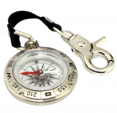 Eyeskey Backpack Mini Portable Outdoor Hiking Camping Compass Handheld Key Chain Survival Compass silver 5