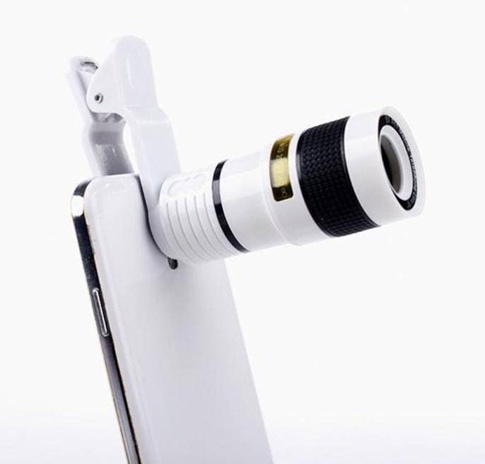 HD Mobile Phone Lens Telescope (No Dark Corner) 12 X Zoom Optical Telescope Camera Lens with Clips white 8cm