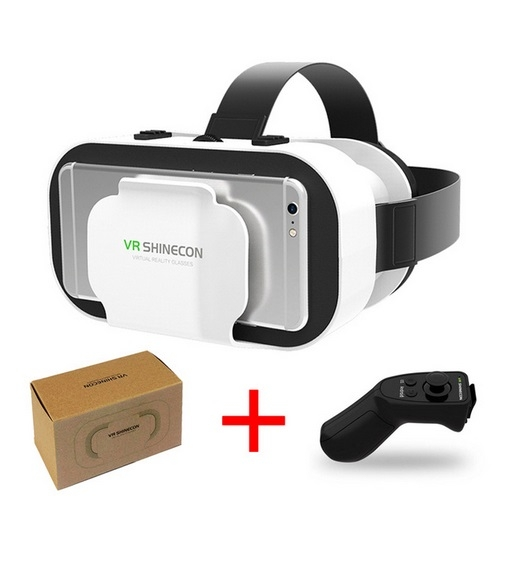 VR Glasses 3D Virtual Reality Play Game Console Movie For All Smart Phone With Bluetooth Controller C one size