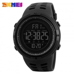 Men Sports Watches Countdown Double Time Watch Alarm Digital Wristwatches 50M Waterproof black 28cm
