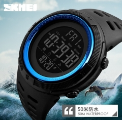 SKMEI Sports Watches LED Military Waterproof Wristwatch Sport Men's Quartz Analog Digital Watch blue 28cm