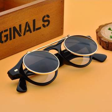 Men/Women Fashion Sunglasses Round Flip Up Retro Vintage Glasses black 30cm