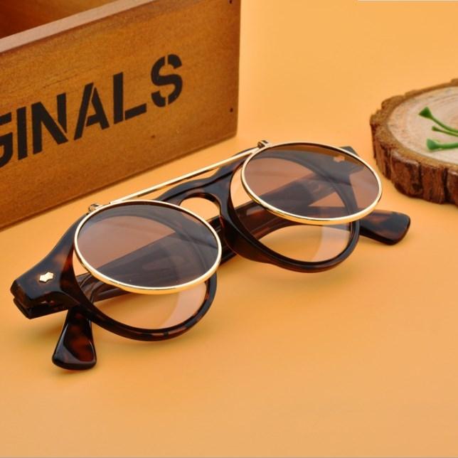 Men/Women Fashion Sunglasses Round Flip Up Retro Vintage Glasses Leopard 30cm
