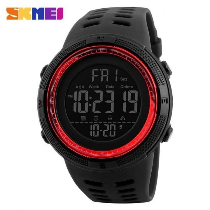 SKMEI Men Fashion Sport Watch Electronics Military Digital LED Quartz Wristwatch Waterproof Watches red 25CM