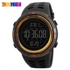 SKMEI Mens Watchs Sport Watch Electronics Military Digital Wristwatch Waterproof Watch gold 25CM