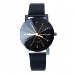 Men/Women Fashion Watch Quartz Dial Clock Leather Watch Couple Watches Men+Women Black