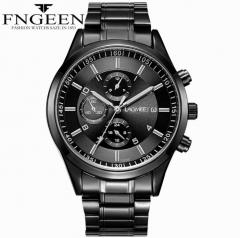 Korean Ultra-thin Men's Belt Sports Luminous Waterproof  Watch Three imitation Six-pin Wristwatch black 28cm
