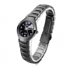 Womens Watch Business Quartz Wristatch Waterproof Tungsten Steel Strap Ladys Watch  Bracelet Watch black
