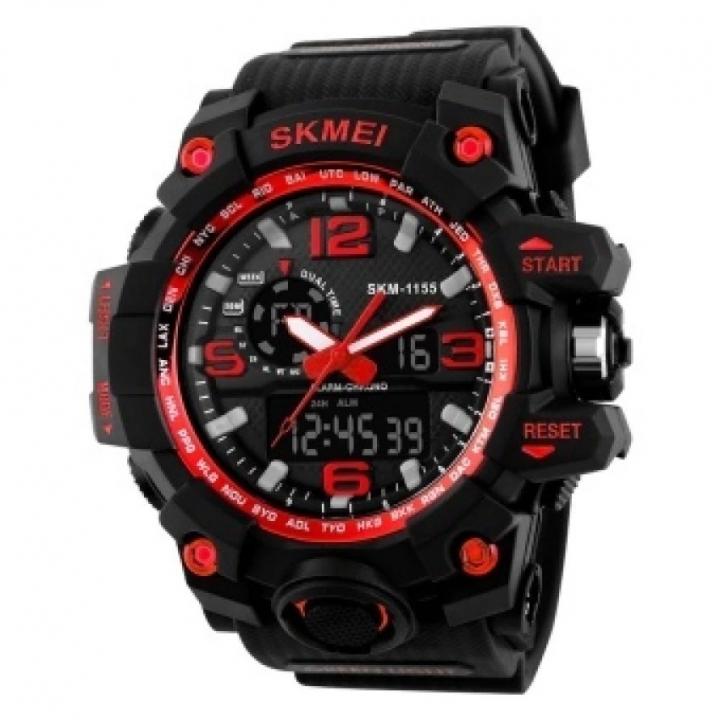 SKMEI Sports Watches LED Military Waterproof Wristwatch Sport Men's Quartz Analog Digital Watch red 28cm