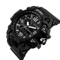 SKMEI Sports Watches LED Military Waterproof Wristwatch Sport Men's Quartz Analog Digital Watch black 28cm