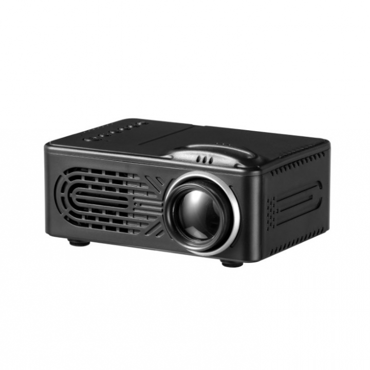 Portable Office LED Projector Mini Home Projector Theater Projector Support 1080P Black 12cm