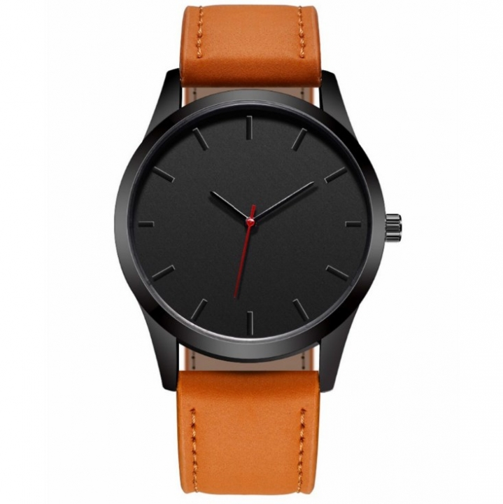 Men Fashion Watch Dial Military Quartz Leather Sport Watches Male Business Clock Wristwatch brown 28cm