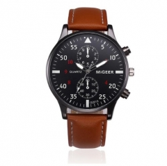Genuine Migeer Men Watches Leather Straps Stainless Steel Quartz Man Wristwatch Gifts brown 22cm