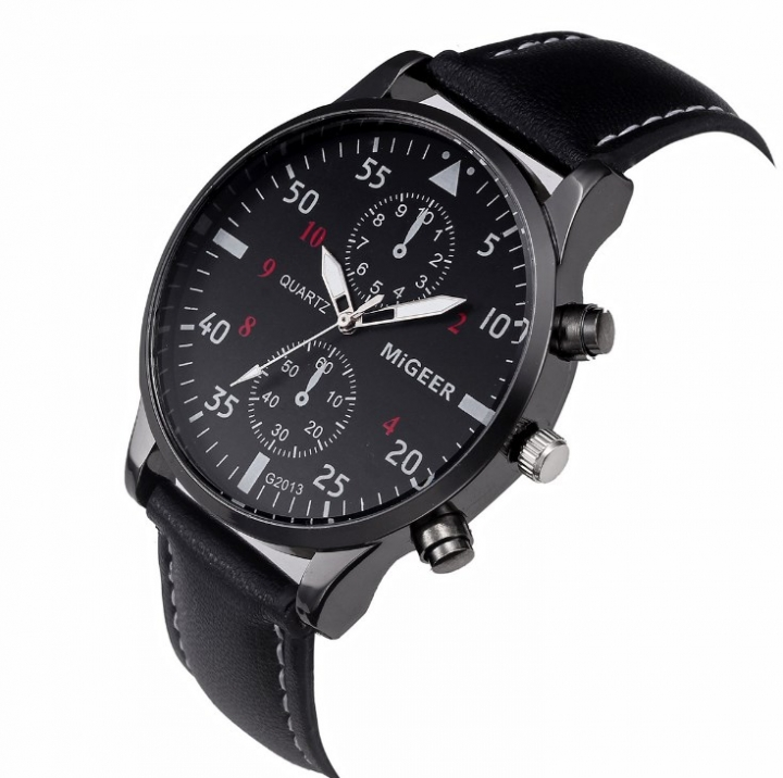 Men Military Business Watches Luxury Sport Digital Leather Band Alloy Quartz Watch black 22cm