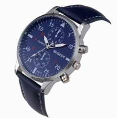 Men Military Business Watches Luxury Sport Digital Leather Band Alloy Quartz Watch blue 22cm
