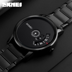 Skmei Men Quartz Watch Sport Watches Luxury Steel Business Wristwatches Waterproof Male Clock black 28cm