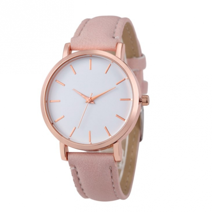 Women Watches Fashion Ladies Watches Leather Stainless Steel Analog Luxury Clock Wristwatch pink 22cm