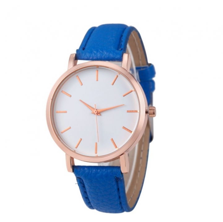 Women Watches Fashion Ladies Watches Leather Stainless Steel Analog Luxury Clock Wristwatch blue 22cm