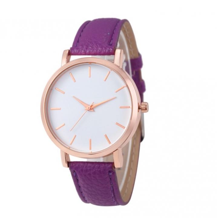 Clock Watches Women Fashion Ladies Watches Leather Stainless Steel Analog Luxury Wrist Watch purple 22cm