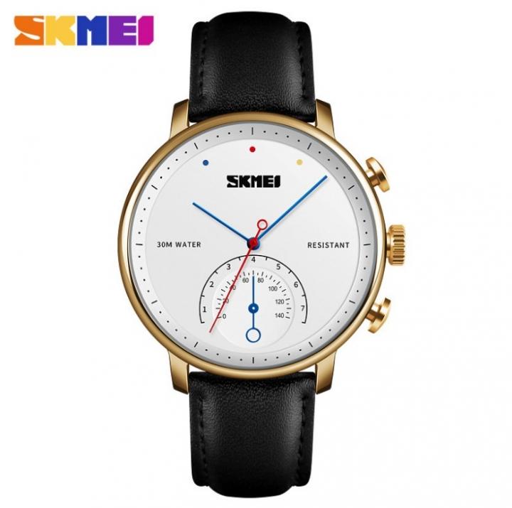 SKMEI Business Quartz Men Watch Leather Strap Watches Alloy Case Waterproof Wristwatch Fashion Watch gold 25cm