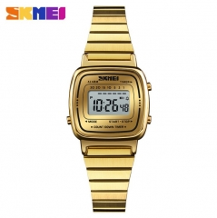 SKMEI Lady Digital Fashion Watch Luxury Casual Waterproof Women Watch Countdown Alarm Wristwatch gold 22cm
