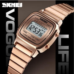 SKMEI Lady Digital Fashion Watch Luxury Casual Waterproof Women Watch Countdown Alarm Wristwatch rose gold 22cm