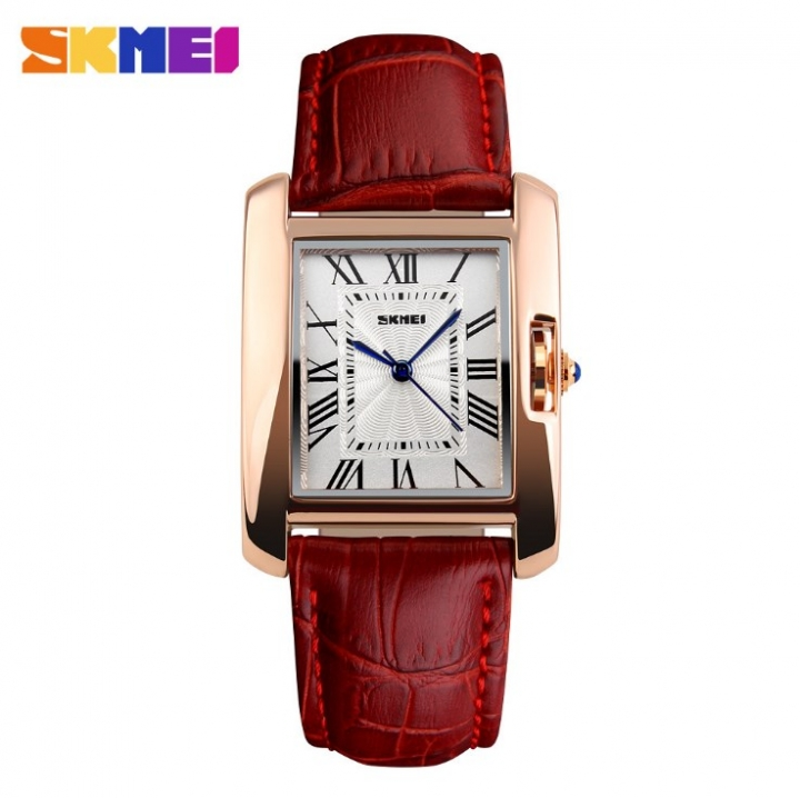 SKMEI Women Quartz Watches Luxury Fashion Casual Watch Leather Strap Lady Dress Girls red 22cm